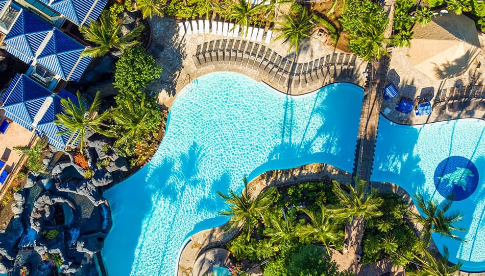 One of three Swimming Pools at the Hilton Resort on the Big Island of Hawaii