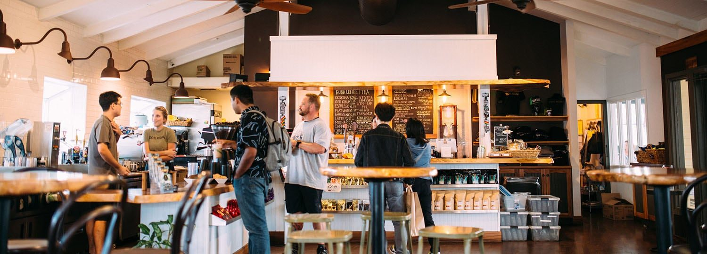 Kona Coffee and Tea Interior and Counter