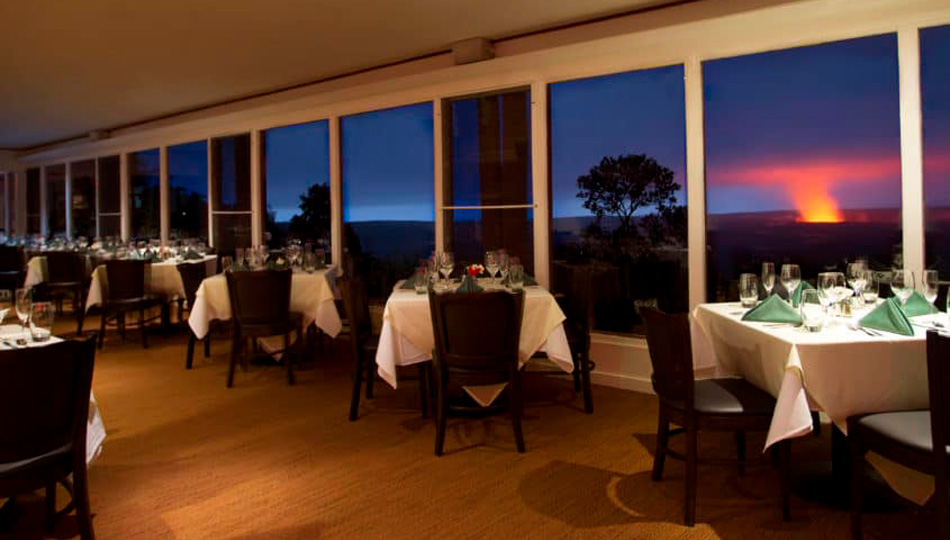 The Rim Restaurant Dining Room with the glow of the caldera in the background