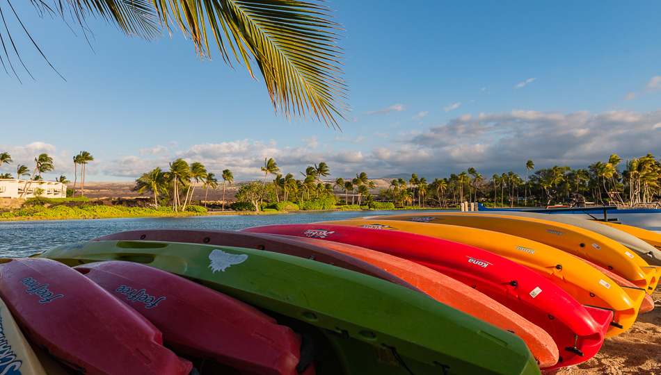 Sea Kayaks for rent on Anaehoomalu Beach