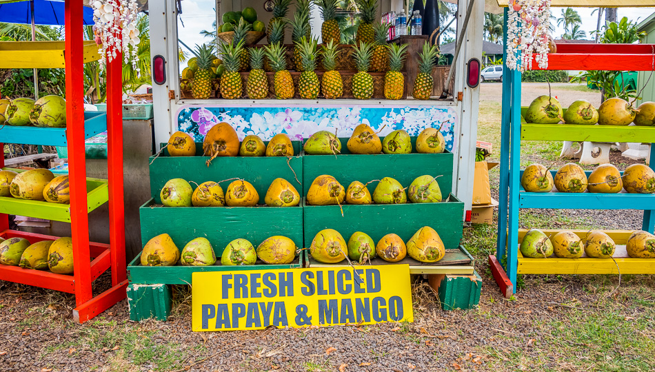 Big Island Farmers Market with Pineapples, Coconuts, Fresh Sliced Papaya & Mango Sign