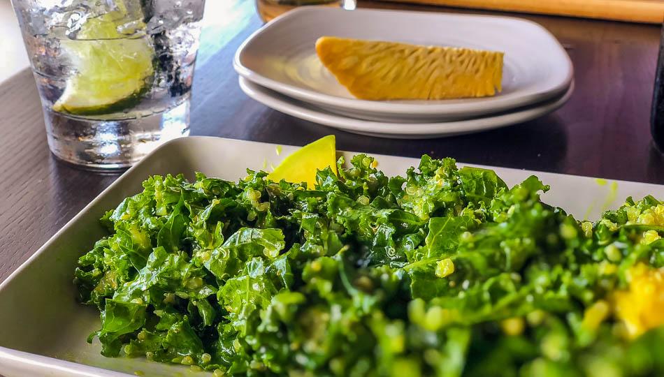 Kale Salad and Ulu fries at Hula Hulas Restaurant