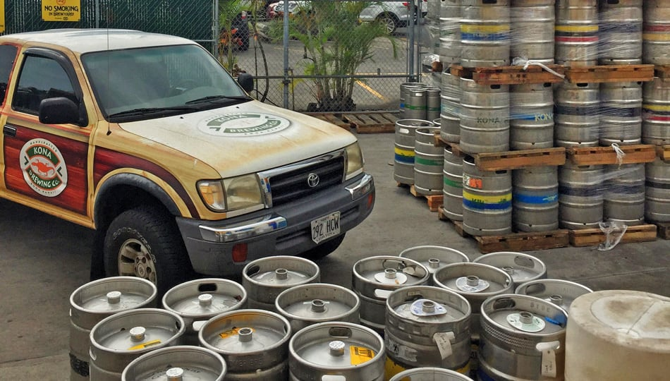 Kona Brewing Company Truck and Kegs on the Brewery Tour