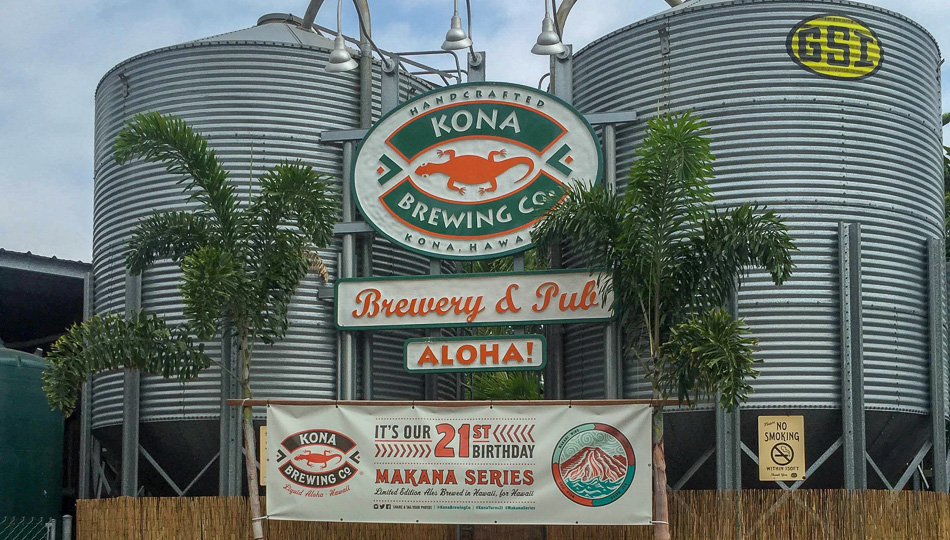 Kona Brewing Company Sign in front of their Kona Pub