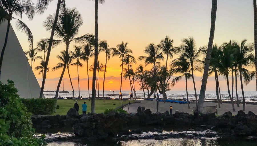 Sunset View from the CanoeHouse Restaurant at the Mauna Lani Resort