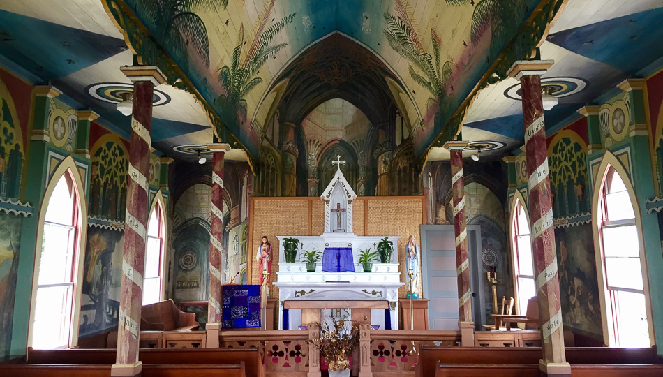 Murals at St Benedict Church also known as the Painted Church in Kailua Kona