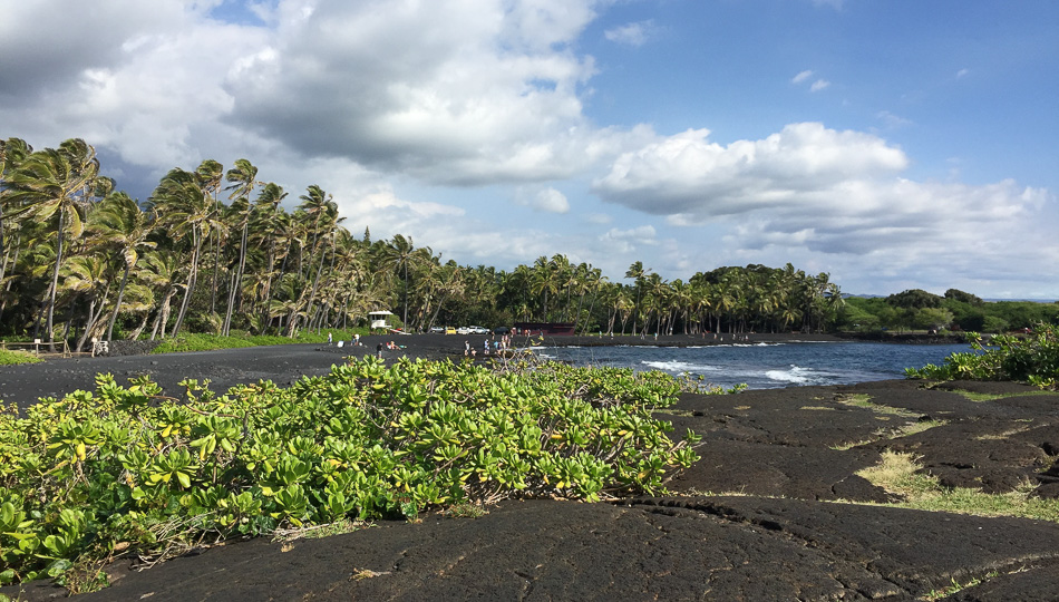 View of Punaluu Black Sand Beach