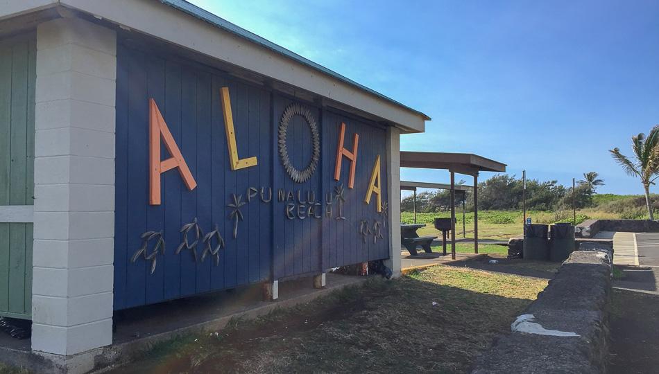 Aloha Sign on the Pavilion at Punaluu Black Sand Beach