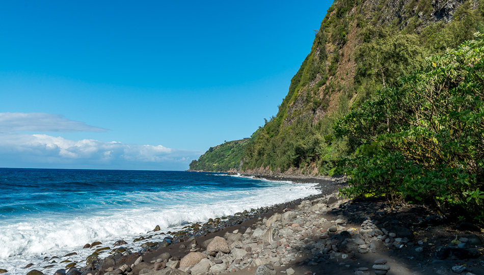 View of the northern tip of the Waipio Valley Black Sand Beach