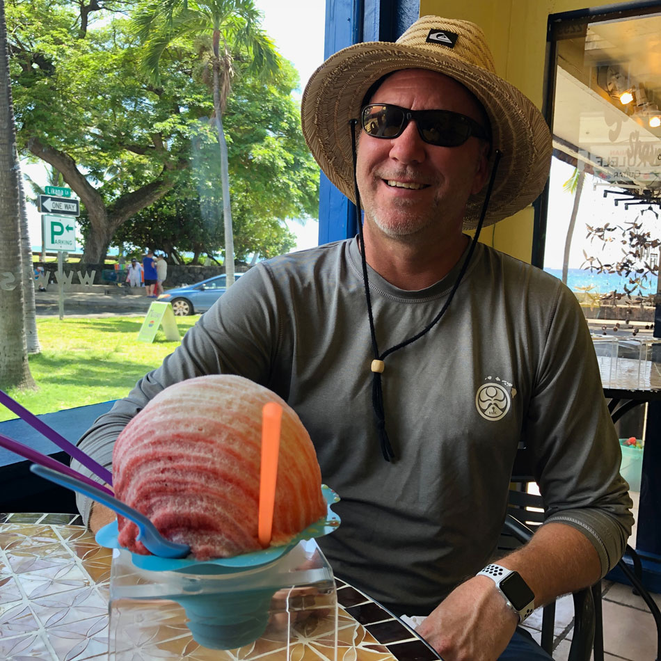 Jim with a Huge Scandinavian Shave Ice