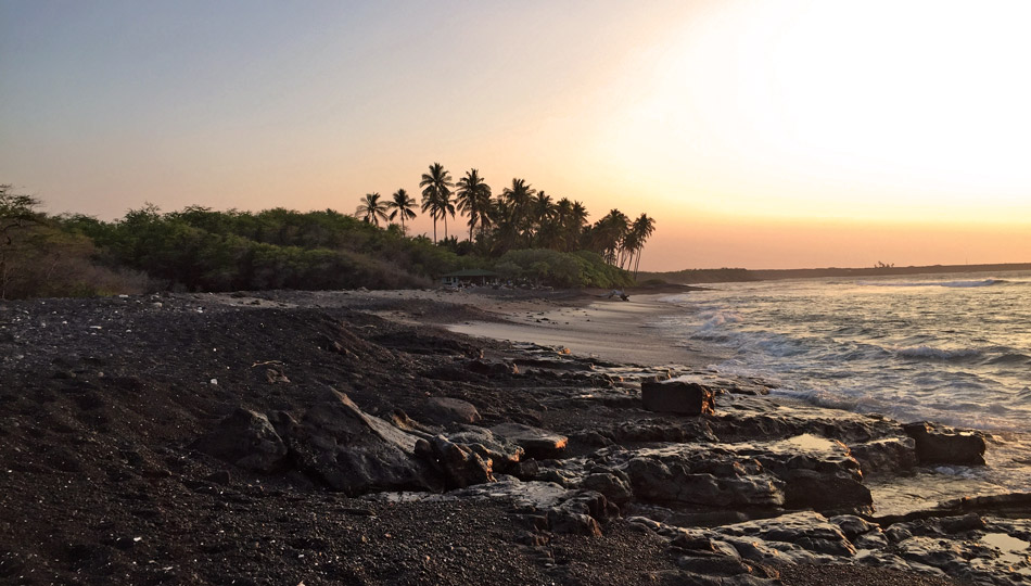 Black Sand Beach and Sunset near Kiholo Bay
