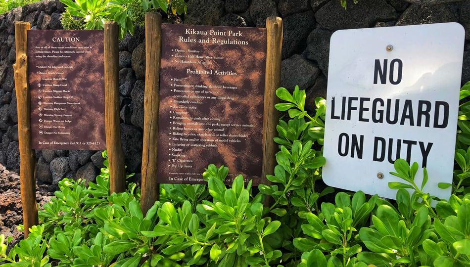 Kikaua Point Beach Park Signs