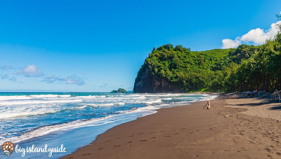 Pololu Valley Black Sand Beach and waves