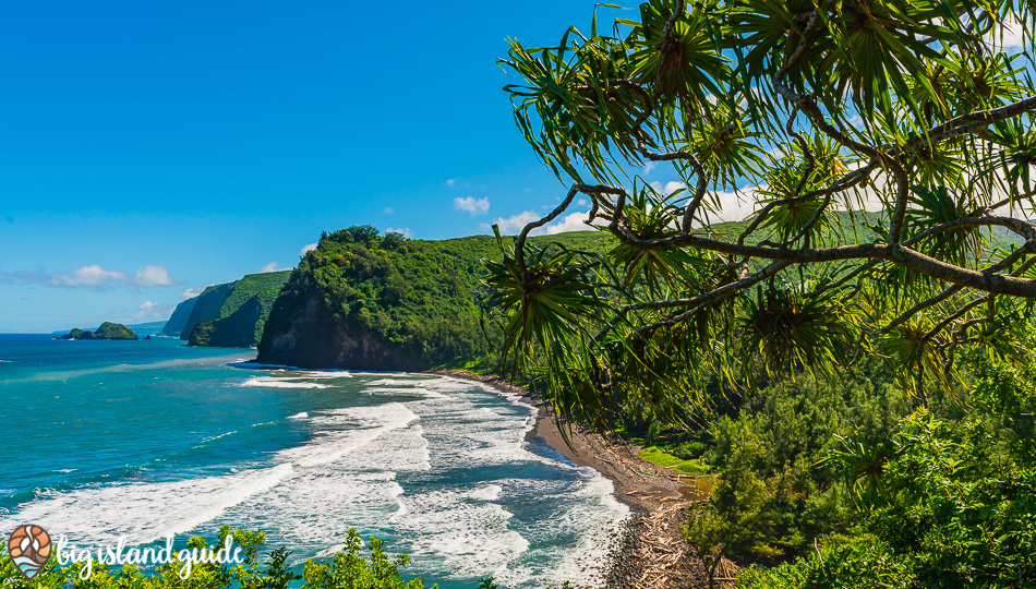Pololu Valley Black Sand Beach from the Hiking Trail