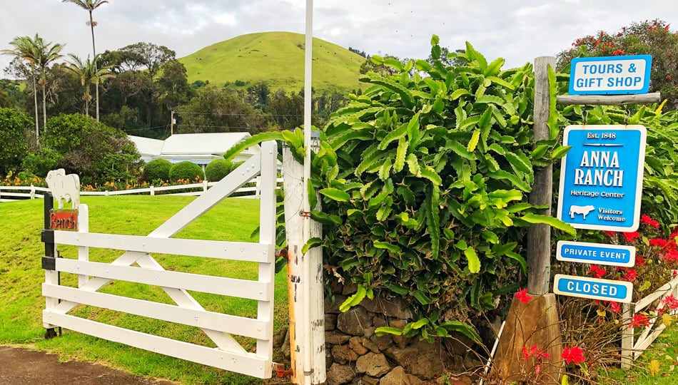 The Sign and Gate at the Historic Anna Ranch in Waimea Hawaii