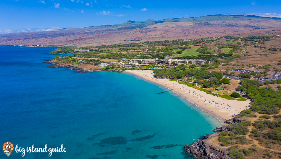 Aerial Photo Of Hapuna Beach with the Westin and Kohala Mountain in the Background
