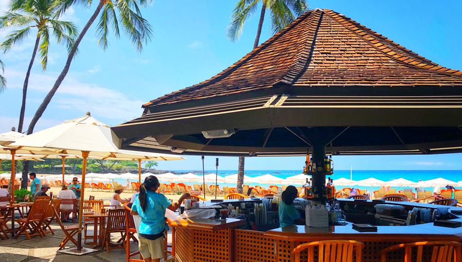 Hau Tree Beach Bar on Kaunaoa Beach also known as Mauna Kea Beach