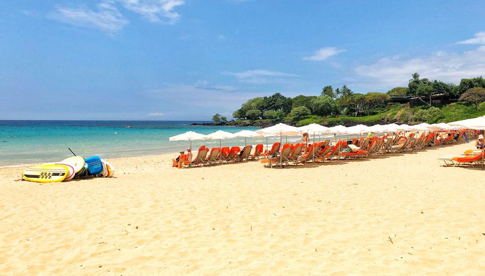Lounge Chairs and Paddle Boards on Kaunaoa Beach (Mauna Kea Beach)