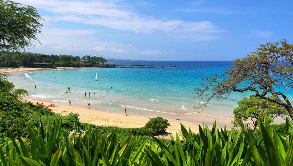 View of Kaunaoa Beach also known as Mauna Kea Beach