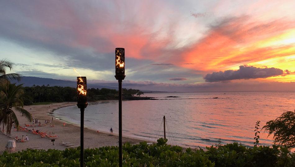 Sunset over Kaunaoa Beach from the Mauna Kea Beach Resort