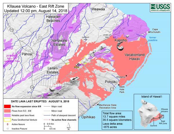 2018 Kilauea Hawaii Volcano Eruption - USGS Photo map of the rift zone flows