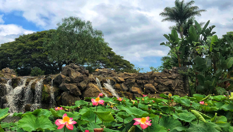 Waterfall and flowers in front of Makani Golf Club