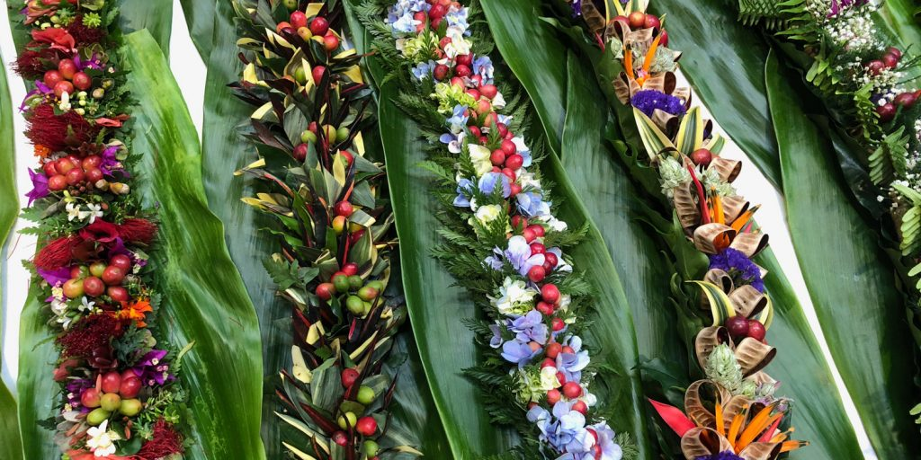Hand Made Leis Using Various Parts of the Kona Coffee Plant