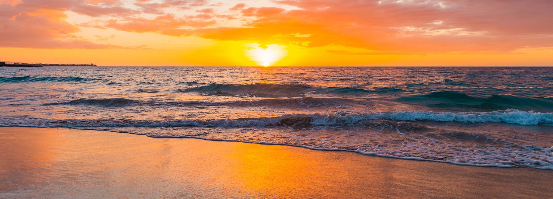 Beautiful Sunset over Hapuna Beach on the Island of Hawaii