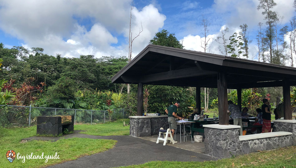 Pavilion and picnic tables at Lava Tree State Park