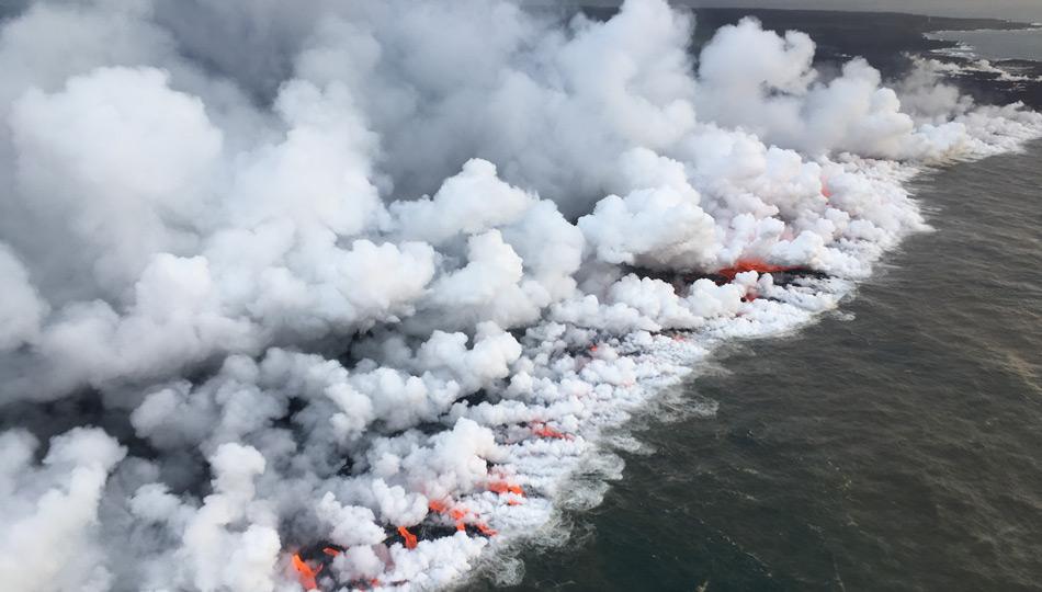 2018 Kilauea Hawaii Volcano Eruption - USGS Photo of lava entering ocean