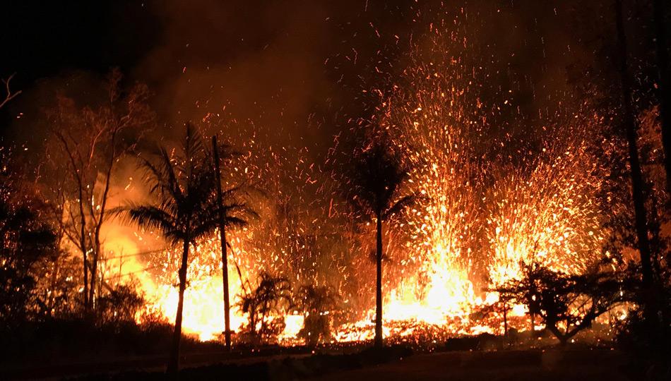 2018 Kilauea Hawaii Volcano Eruption - USGS Photo of fissure eruptions