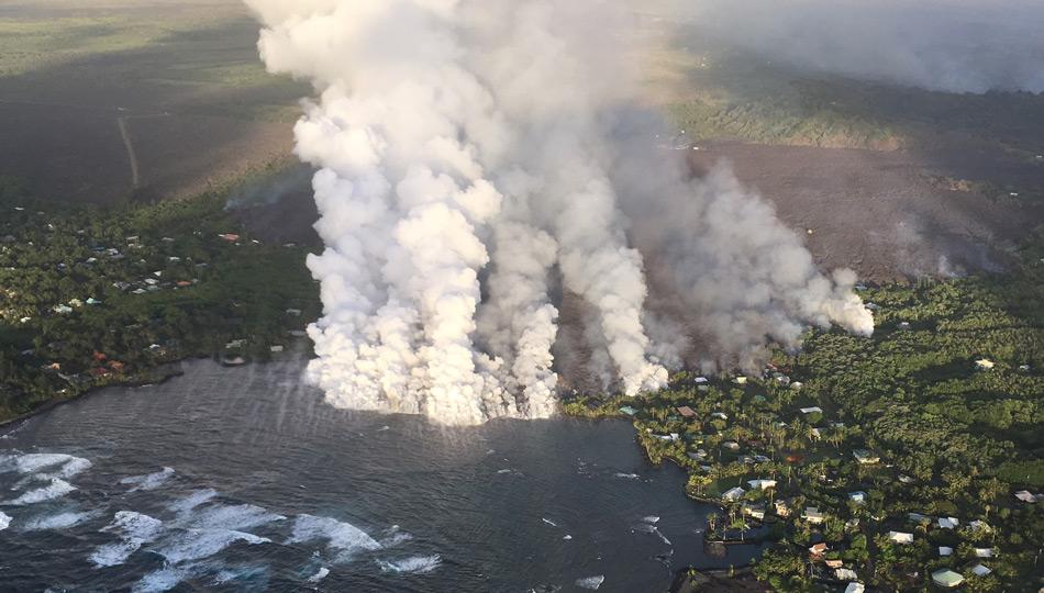 2018 Kilauea Hawaii Volcano Eruption - USGS Photo of the lava flowing into Kapoho Bay