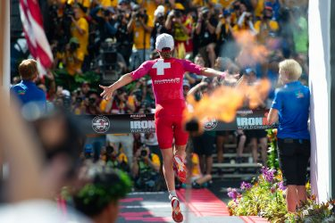 2018 Ironman World Champion Daniela Ryf crossing the finish line.