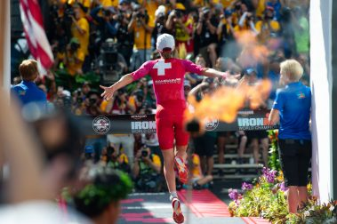 2018 Ironman World Champion Daniela Ryf crossing the finish line.