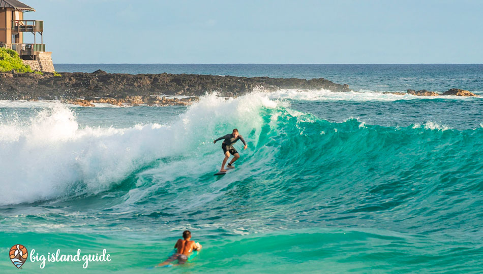 Surfing at Magic Sands, White Sands Beach Park, Kona Hawaii