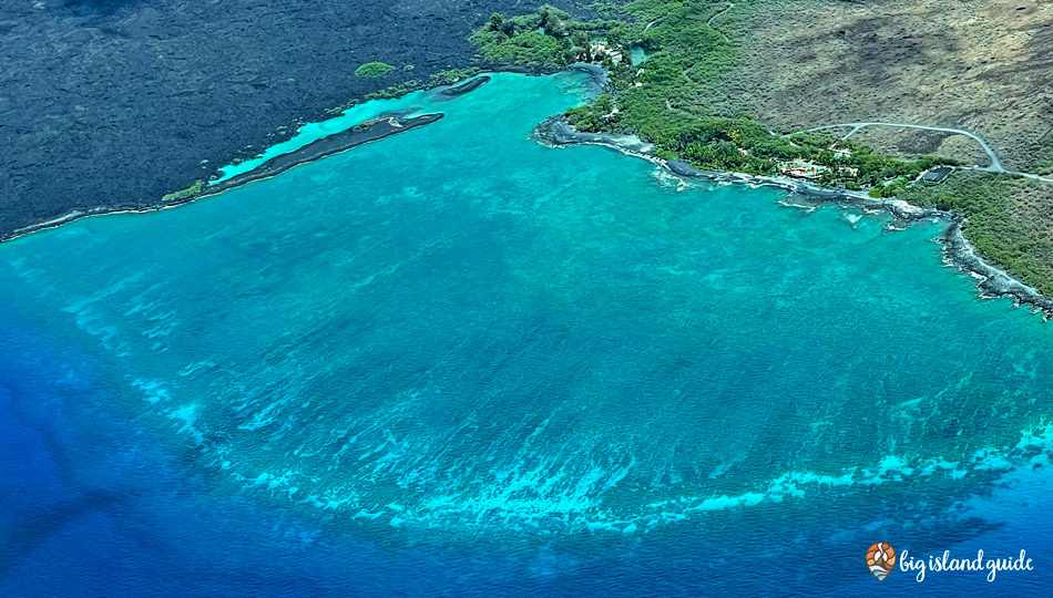 Aerial Photo of Kiholo Bay - large reef area and shoreline on Hawaii Island